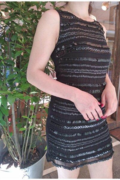 Ayşen Armağan A2 1031 Ithal Payetli Mini Elbise Siyah