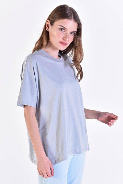 Addax Kadın Buz Mavi Oversize Basic Tişört P0730 - C6 ADX-0000020569