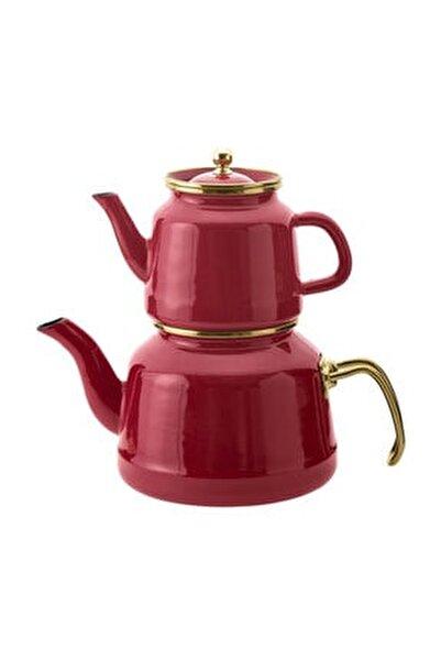 Troy Emaye Çaydanlık Takımı Kırmızı