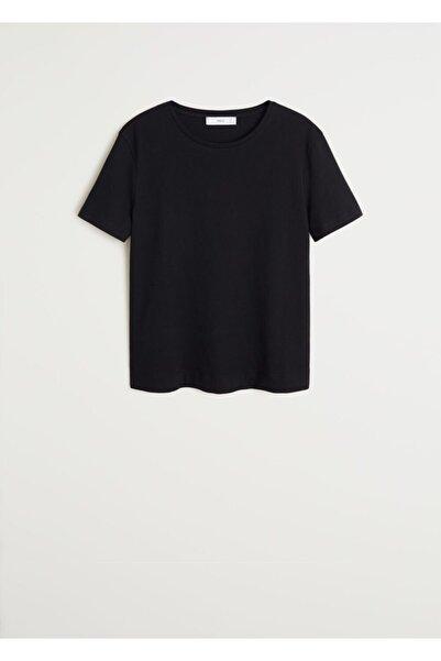 MANGO Woman Kadın Siyah Gündelik Koton Tişört 77070534