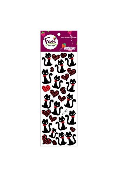 Face Sticker Kara Kedi 7 Adet