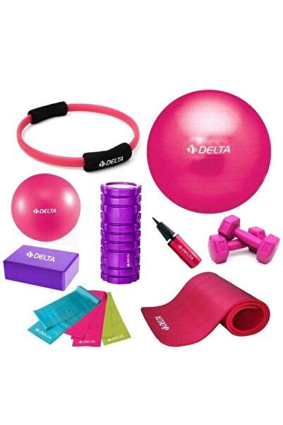 Delta 55-20cm Pilates Topu 10mm Minderi Foam Roller Yoga Blok Set