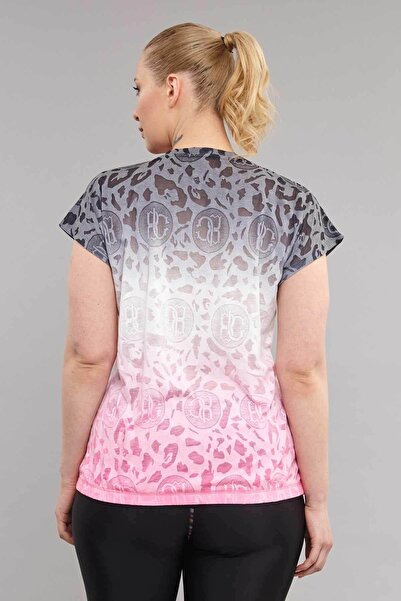 Pembe Büyük Beden Pamuk/Poly  Kadın  T-Shirt ES-4223
