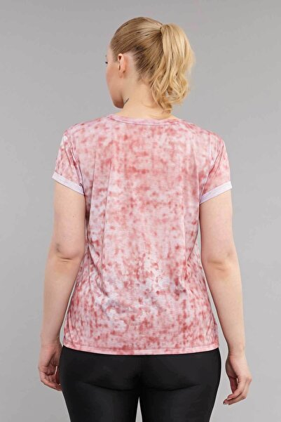 Pembe Büyük Beden Kadın Antrenman T-Shirt ES-3636