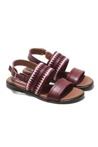 MP Kadın Yazlık Bordo Sandalet