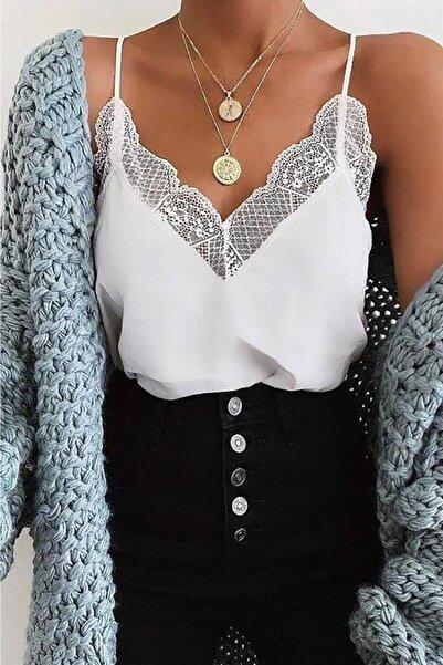 Madmext Kadın Beyaz Dantel Detaylı Ip Askılı Bluz Mg306