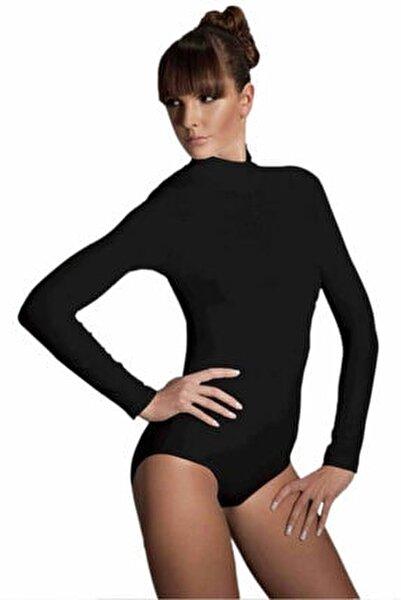 Kadın Siyah Çıtçıtlı Uzun Kollu Boğazlı Body 12407