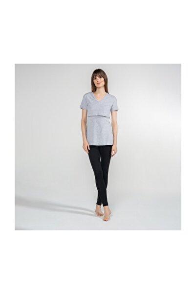 Funna Baby V-Yaka Emzirme T-Shirt - Nora - Gri