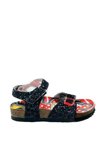 Minnie Mouse Kız Çocuk Siyah Pullu Sandalet