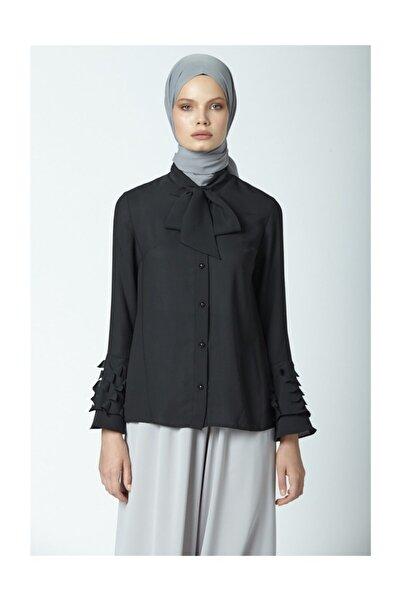 Armine Lazer Detaylı Gömlek Siyah 9y3309