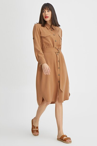 Kadın Kahverengi Önü Düğmeli Tencel Elbise 20YG001319