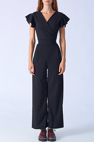 Kadın Volanlı Tulum Siyah M32025-102