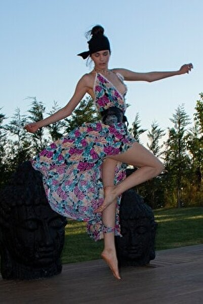 Kadın Çok Renkli Baskılı Standart Beden Ivy Elbise
