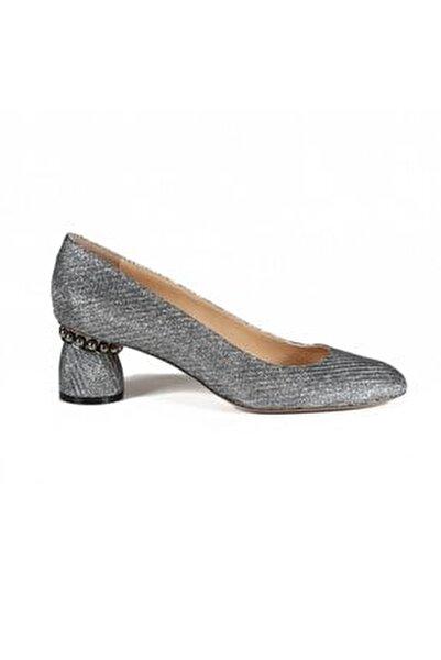 Kadın Gıglıo Kurşun Kumaş Incili  Topuklu Ayakkabı