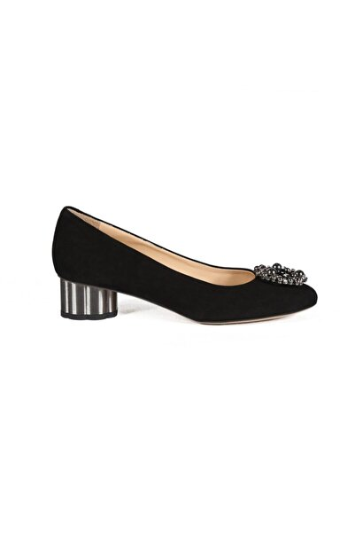 Sofia Baldi Kadın Dory Siyah Süet Taşlı  Topuklu Ayakkabı