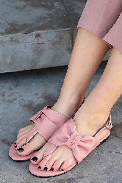 Mio Gusto Kadın Papillon Fiyonklu Sandalet Pembe
