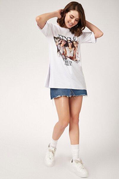 Bigdart Kadın Baskılı Yanı Yırtmaçlı T-shirt 4145