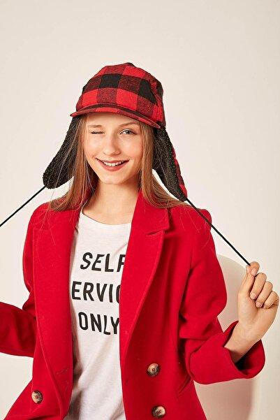 Y-London Kadın 12824 Ekose Desen Kırmızı Şapka SPK-2883