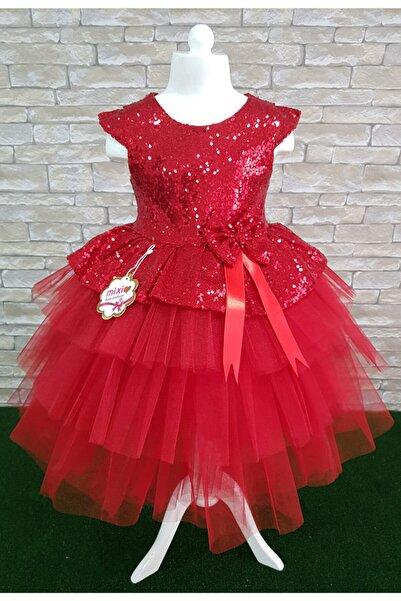 Mixie Kız Çocuk Kırmızı Doğum Günü Tüllü Abiye Elbise