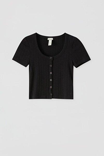 Pull & Bear Kadın Siyah Önü Düğmeli Crop Top 05236391