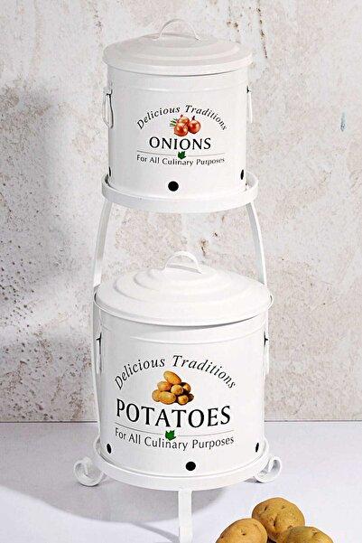 Kitchen Chef Ferforje Lüx Katlı Büyük Patates Ve Soğan Kovası