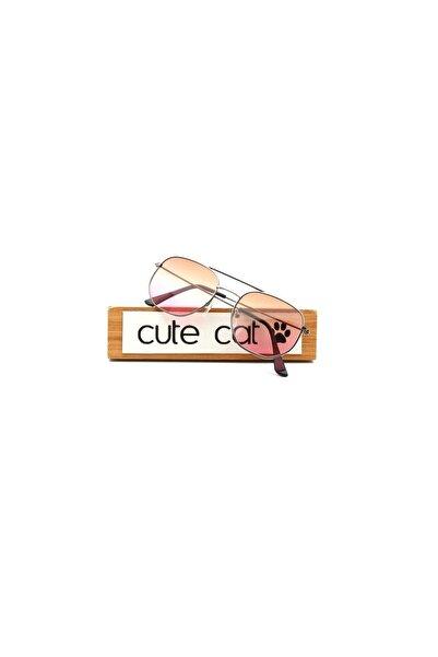 CUTE CAT Hidra Brown Pink Degrade Small Hexagon Unisex Güneş Gözlüğü