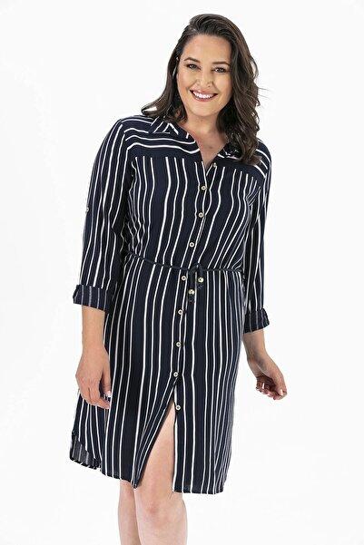By Saygı Çizgili Düğmeli Büyük Beden Tunik Elbise Lacivert