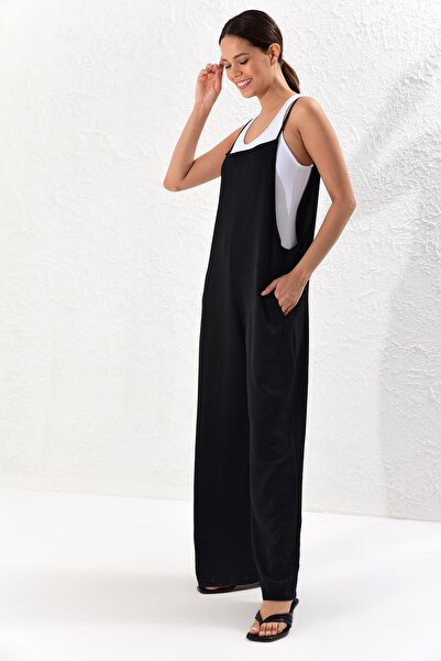 Kadın Siyah Cepli Salaş Tulum BK1001