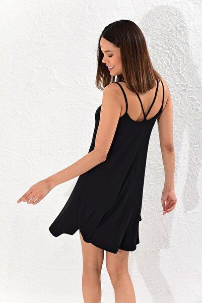 Kadın Siyah Sırtı Çapraz Elbise B118