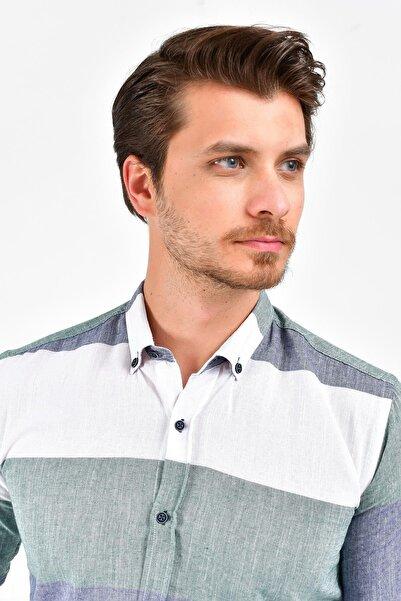 Erkek Haki Uzun Kollu Pano Desen Normal Fit Keten Gömlek 0yegmtn0900