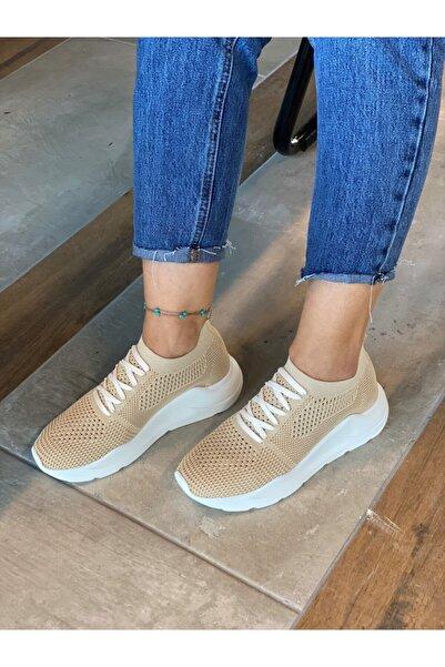 Kadın Bej Triko Ayakkabı