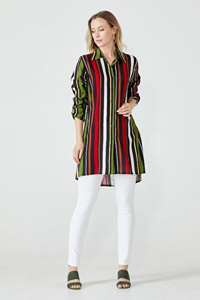 Sementa Kadın Haki - Siyah Renk Büyük Beden Çizgili Tunik Gömlek