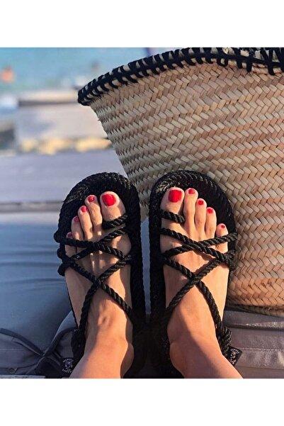Nomadic State Of Mind - Toe Joe Siyah Hasır Ip Sandalet