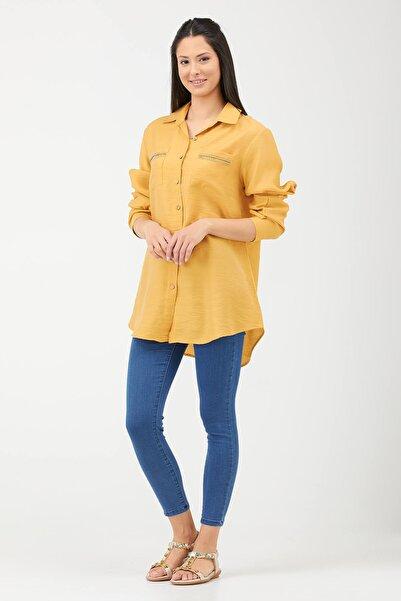 Sementa Büyük Beden Kadın Cep Detaylı Gömlek Sarı