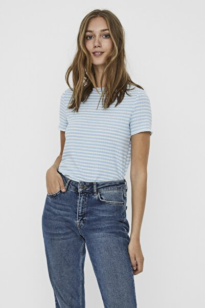 Vero Moda Kadın Beyaz Çizgili Ribli Kısa Kollu Örme T-Shirt 10227505 VMKIRI