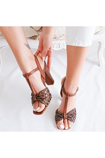 Limoya Taba Örgü Bantlı Kemerli Topuklu Sandalet