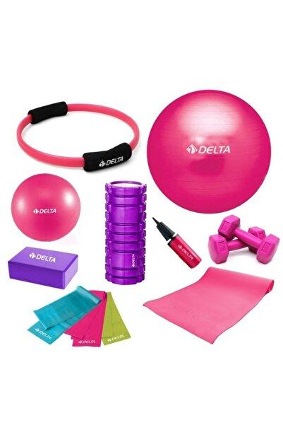 Delta 65-25cm Pilates Topu Minderi Foam Roller Yoga Blok Bant Set