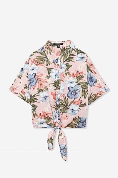 Kadın Hibiscus Desenli Bağlama Detaylı Pembe Gömlek 122522-31547