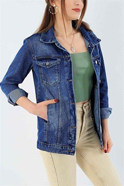 Kadın Kot Ceket Cepli, Mavi Renk