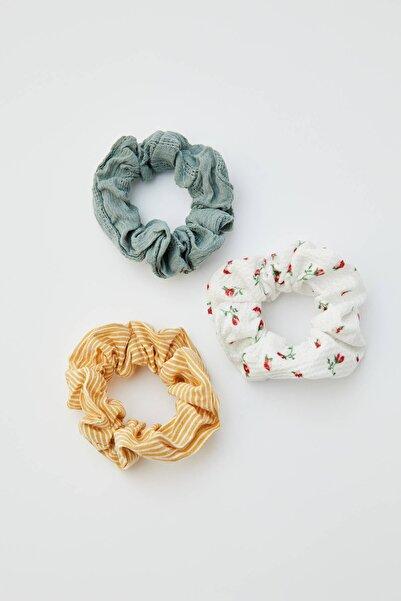 Pull & Bear Kadın Hardal Rengi 3'Lü Çizgili Ve Çiçekli Lastik Toka Paketi 05895338