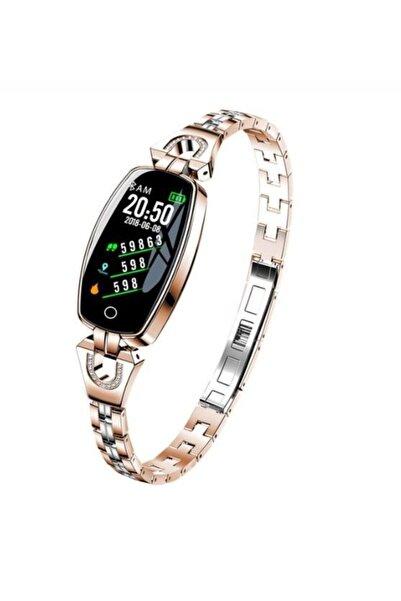 JASPER Kadın Akıllı Saat H8 Akıllı Bilezik Gold Kan Basıncı Nabız Monitörü Spor Izci Spor Bileklik Android
