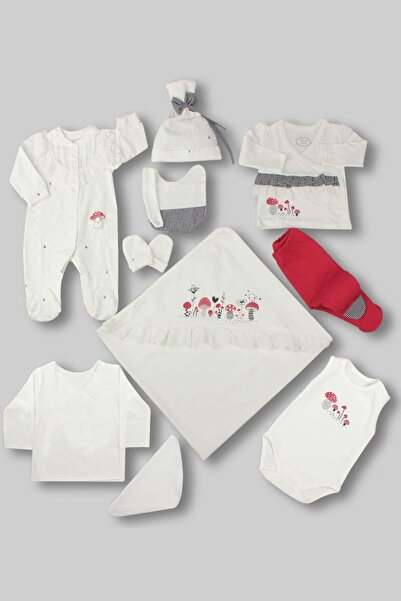 Sweet Mushrooms Kız Bebek 10'lu Hastane Çıkış Seti - Kırmızı