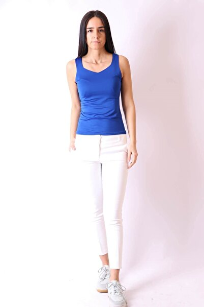 Kadın Beyaz Dar Paça Cepli Pantolon