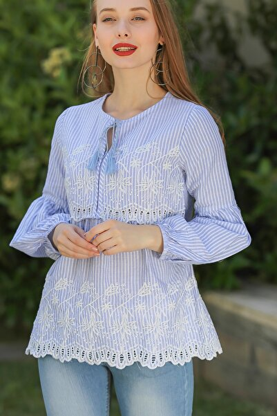 Kadın Vintage Çizgili Roba Ve Etek Ucu Nakış Detaylı Bluz M10010200Bl96249