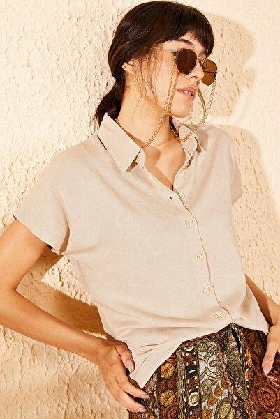 Bianco Lucci Kadın Bej Kısa Kollu Basic Gömlek 10071015