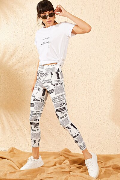 Bianco Lucci Kadın Siyah Beyaz Dijital Gazete Baskılı Toparlayıcı Fitness Tayt 10071039