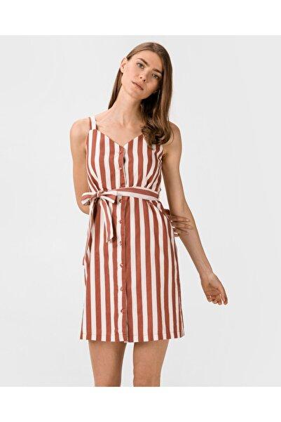 Vero Moda Kadın Kiremit Çizgili Beli Kuşaklı Kolsuz Pamuklu Elbise 10227852 VMDELTA