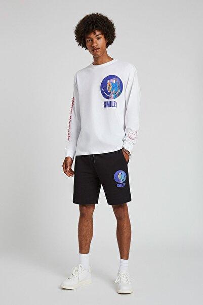 Erkek Siyah Siyah Smiley Baskılı Jogging Fit Pantolon 05670544