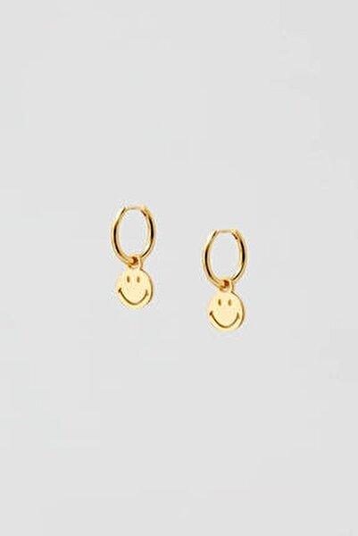 Kadın Altın Rengi Altın Kaplama Smiley Küpe 05992316