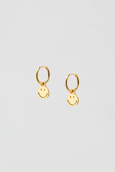 Pull & Bear Kadın Altın Rengi Altın Kaplama Smiley Küpe 05992316